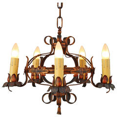 Antique Small-Scale 1920s Polychrome Chandelier