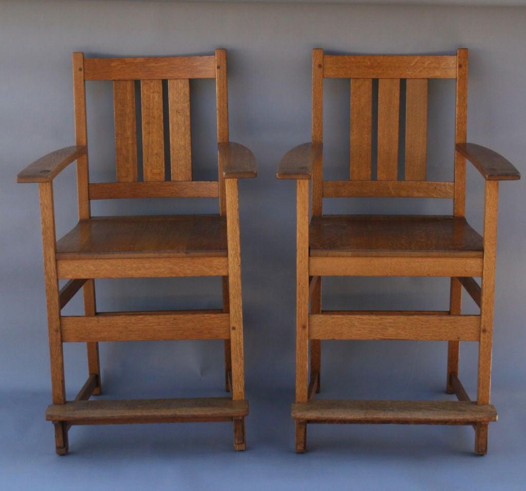 Hard To Find Billiard Chairs Of Beautiful Quarter Sawn Oak By L U0026