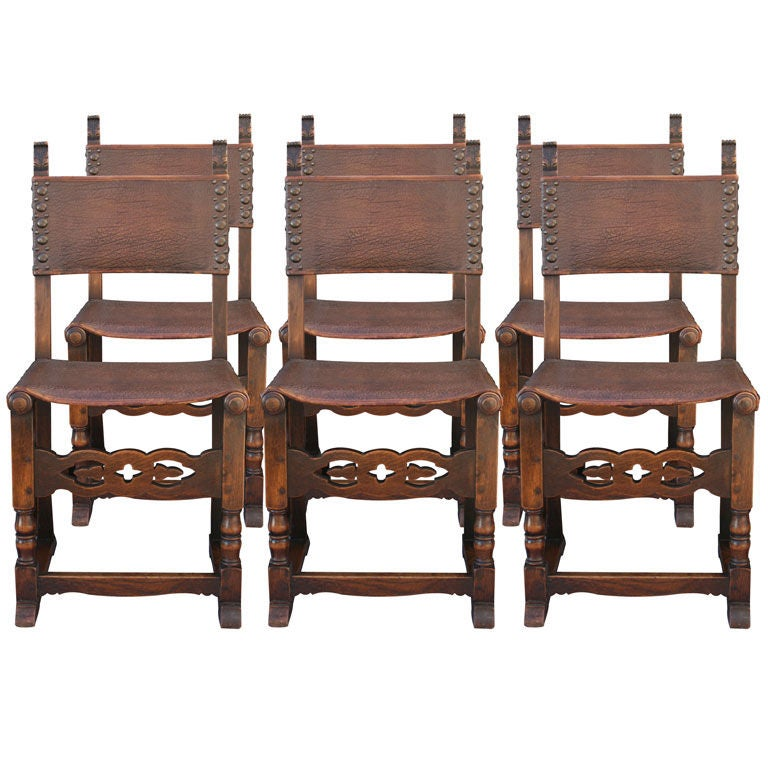 this set of six classic spanish revival dining chairs is no longer