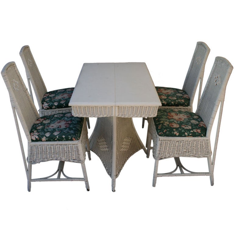 Arts And Crafts Era Wicker Table And Chairs Set At 1stdibs