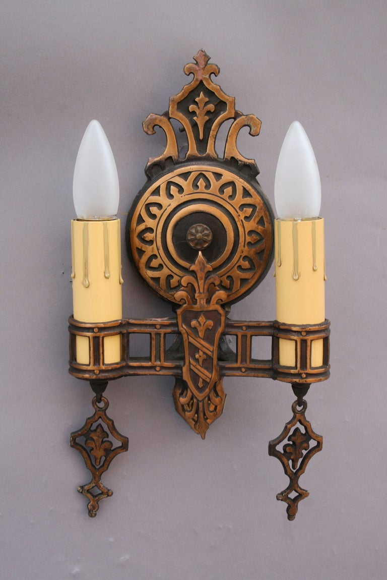 Antique Pair Of Double Sconces at 1stdibs