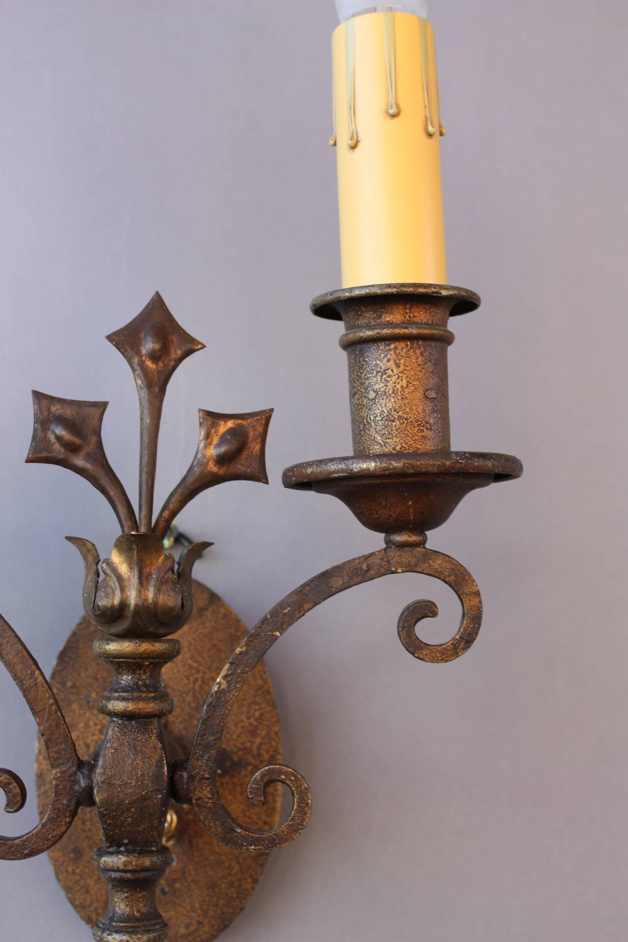 Wall Sconces En Espanol : Pair of Outstanding Spanish Revival Sconces at 1stdibs