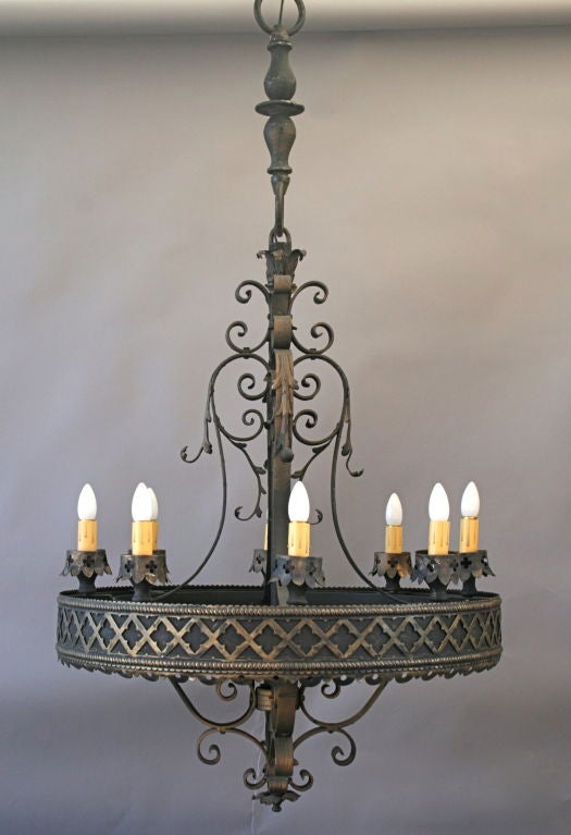 Large Scale Spanish Revival Gothic Flavored Chandelier At