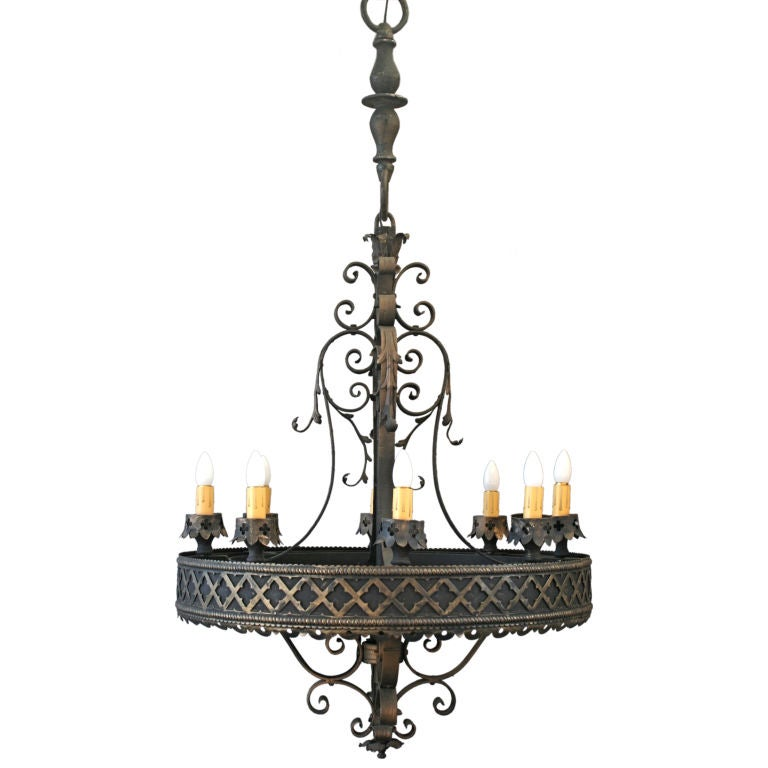 Large scale spanish revival gothic flavored chandelier for Spanish revival lighting