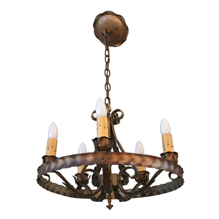 1920 39 S Wrought Iron Spanish Revival Chandelier At 1stdibs