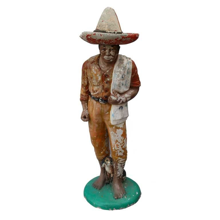 1920u0027s Concrete Mexican Statue Of Man In Sombrero For Sale