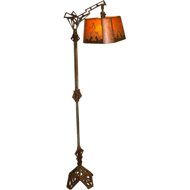 192039s floor lamp with period mica shade at 1stdibs for 1920 s wood floor lamp