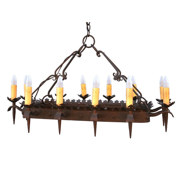 Rectangular Wrought Iron Chandelier At 1stdibs