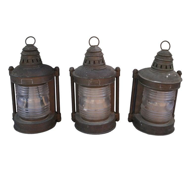"Antique Perko Navigation Lights Vintage Authentic Naval: Three Vintage Brass ""Perko"" Industrial Marine Lanterns At"