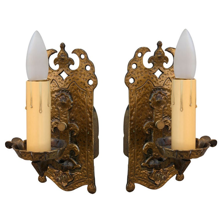 2663. Pair of 1920's Brass Sconces
