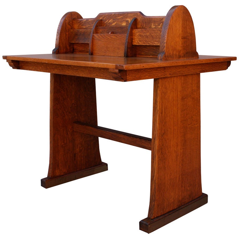 arts and crafts oak partner 39 s desk at 1stdibs