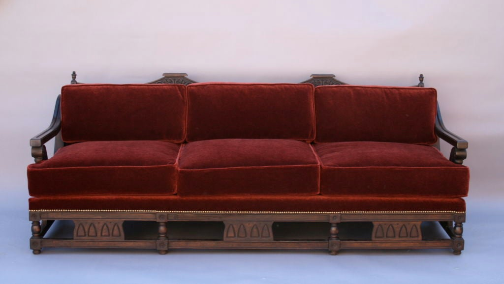 Merveilleux Unique Wood Framed Sofa With Graceful Arms And Decorative Carving, Recently  Re Upholstered