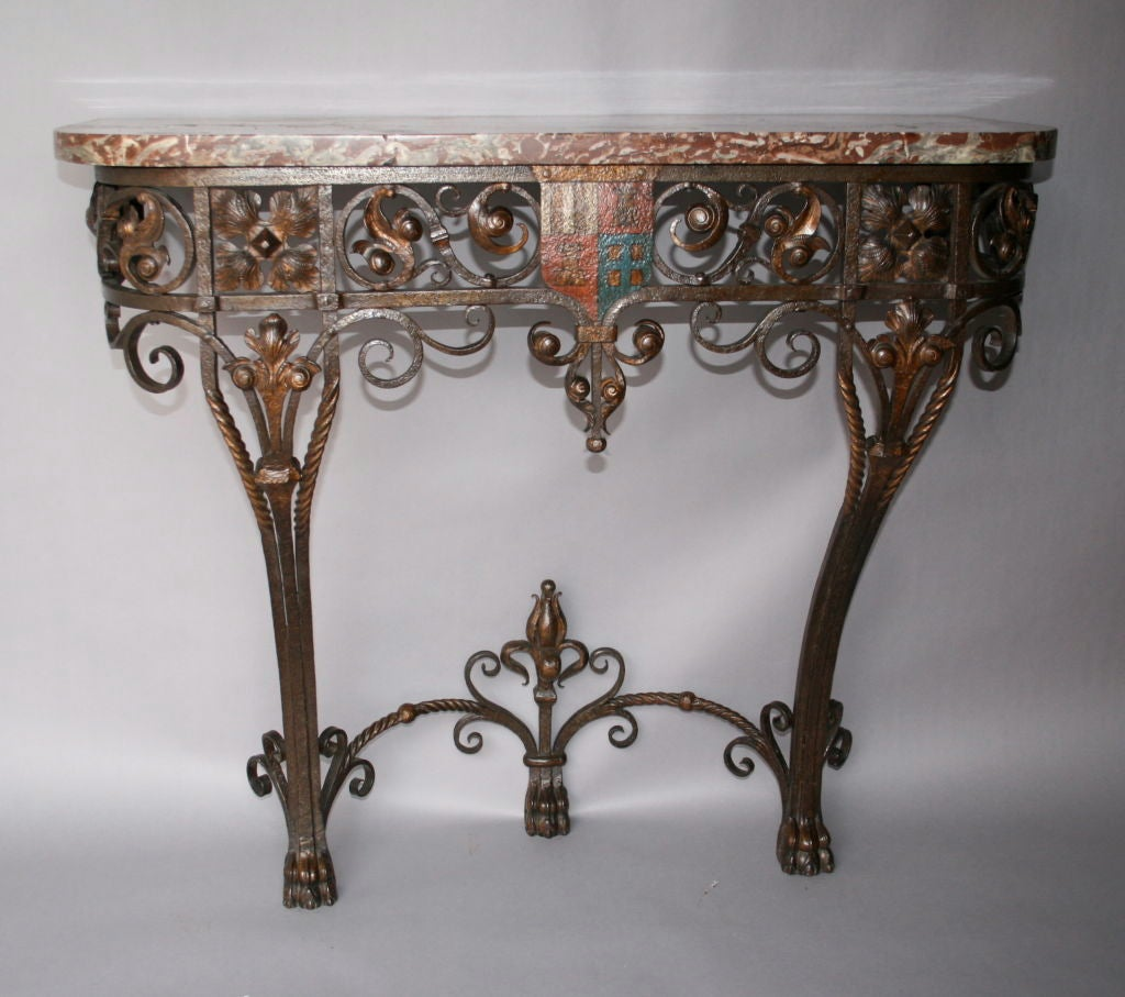 Ornate iron and marble console c 1920 39 s at 1stdibs - Ornate hall table ...