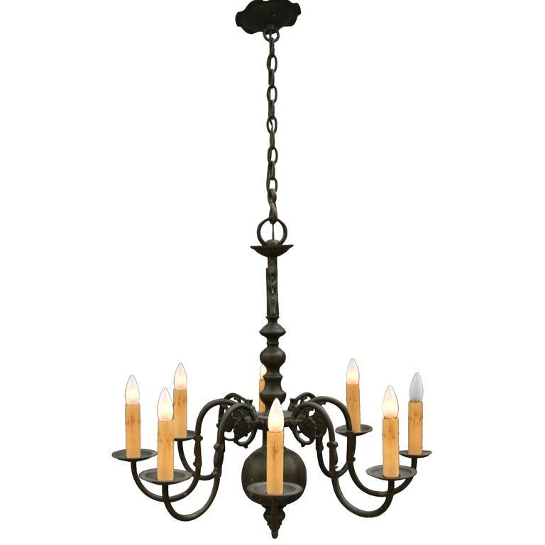 8 light chandelier w bird detail at 1stdibs