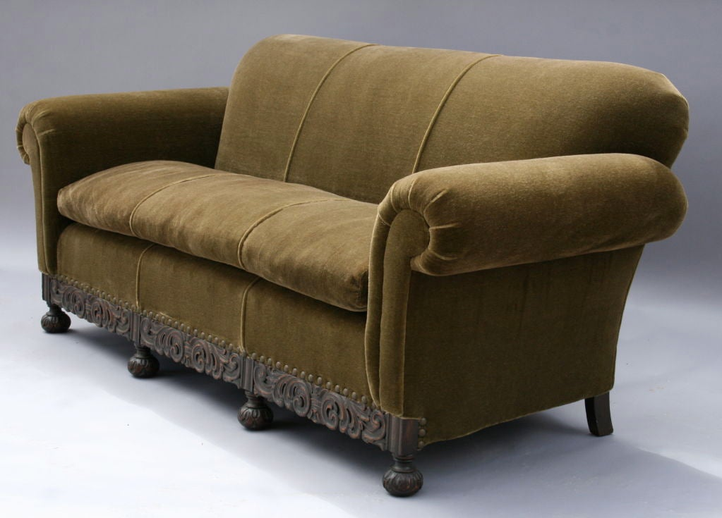1920 S Mohair Sofa W Carved Base At 1stdibs
