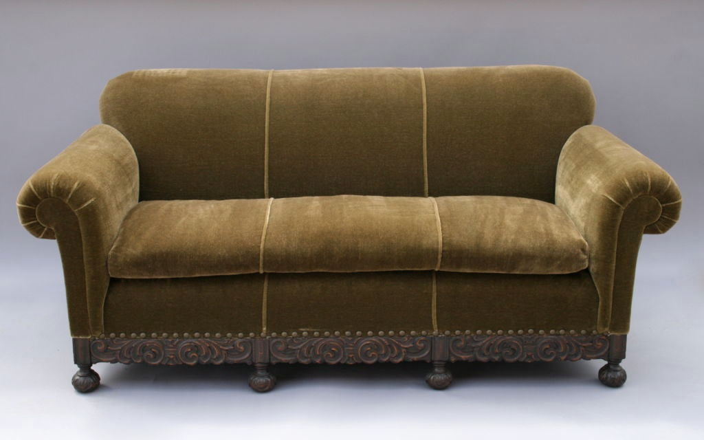 1920 39 s mohair sofa w carved base at 1stdibs. Black Bedroom Furniture Sets. Home Design Ideas