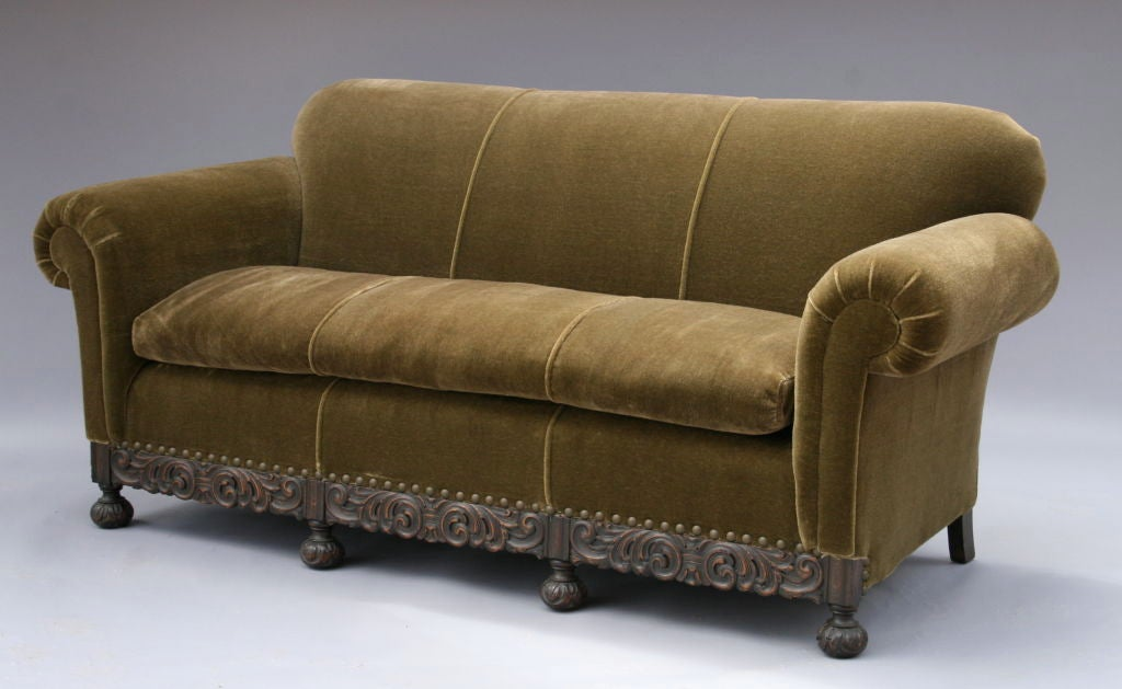 1920 39 s mohair sofa w carved base at 1stdibs for Sofas and more