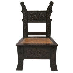 Carved Arts and Crafts Side Chair