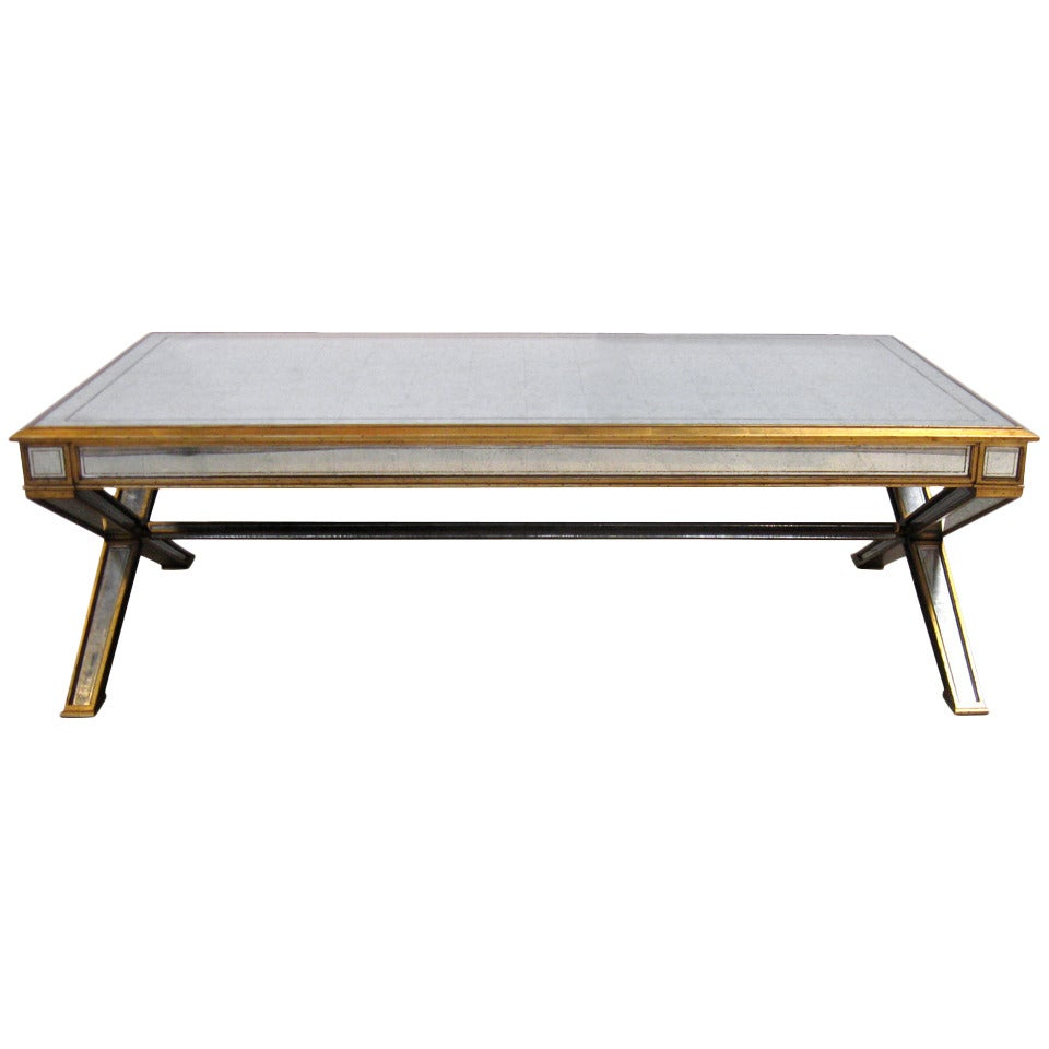 Large mirrored coffee table at 1stdibs Wide coffee table