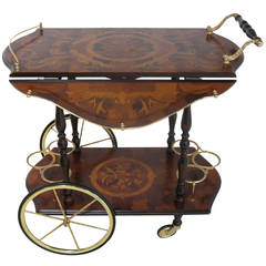 Drop Leaf Bar Cart with Marquetry Design