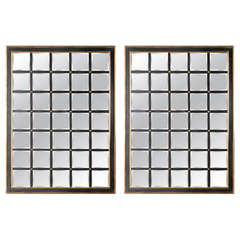 Pair of Modern Black and Gilt Windowpane Mirrors with Beveled Panels