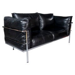 Corbusier Black Leather Loveseat