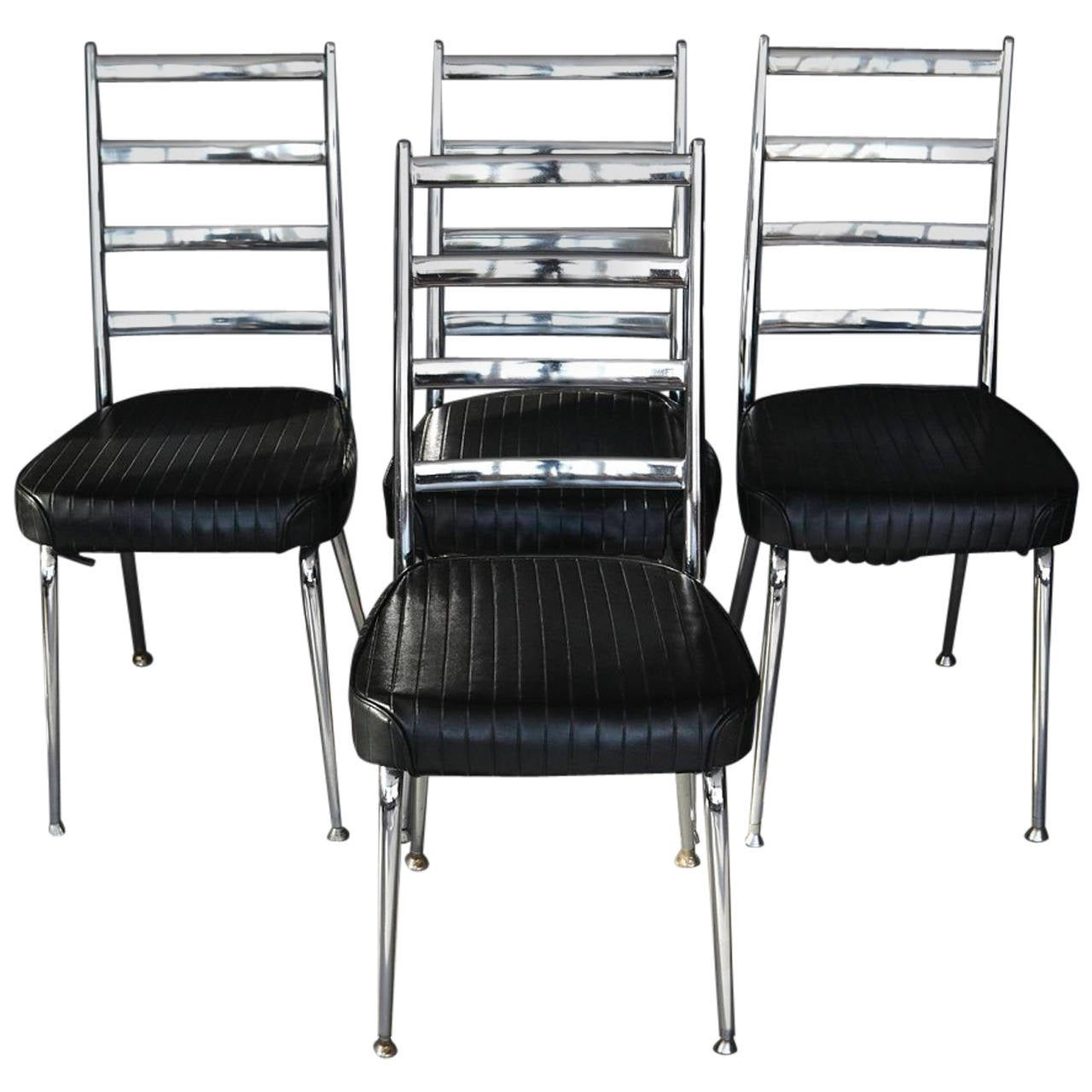 Set of Four Chromecraft Ladderback Dining Chairs with Black Vinyl Seating For Sale