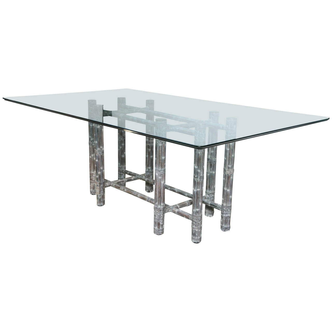 Dining Table with Glass Top For Sale