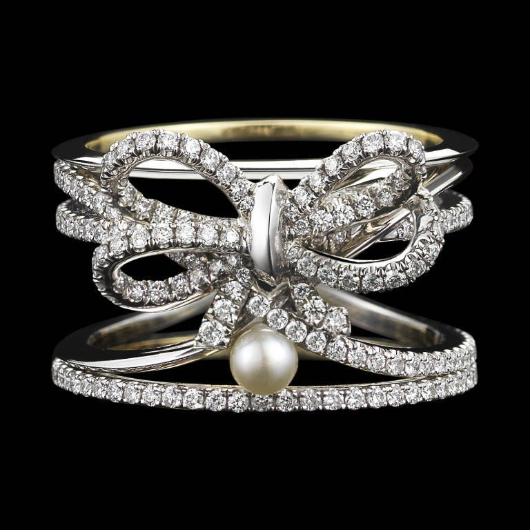 contemporary pearl gold platinum bow ring at 1stdibs