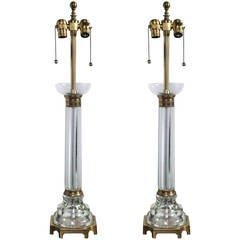 Pair of Glass Column Lamps by Marbro