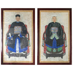 Large Pair of Chinese Ancestral Portraits