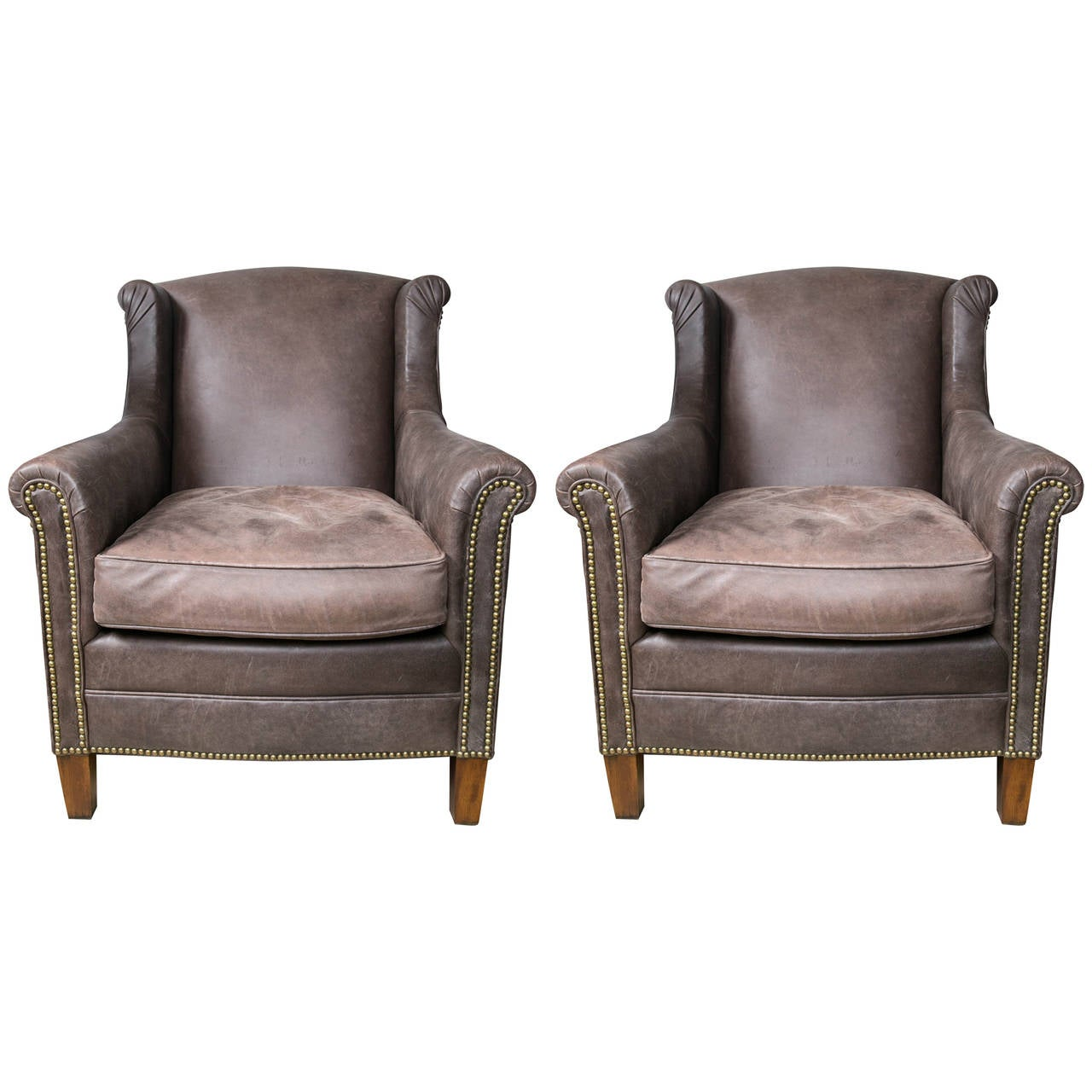 Pair of Ralph Lauren Leather Club Chairs at 1stdibs