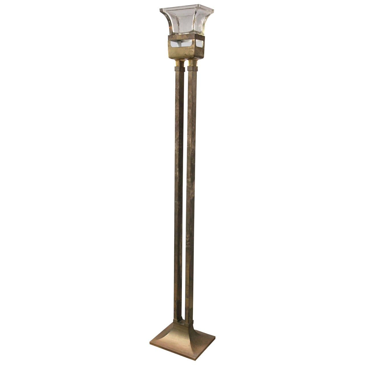 unusual mid century brass torchiere or floor lamp for sale. Black Bedroom Furniture Sets. Home Design Ideas