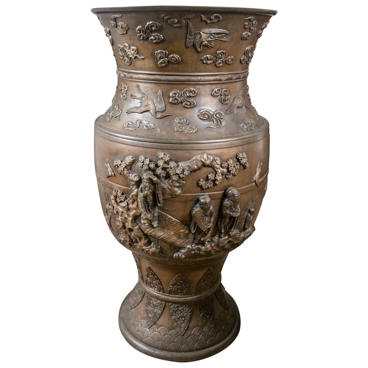 Japanese Bronze Large Vase