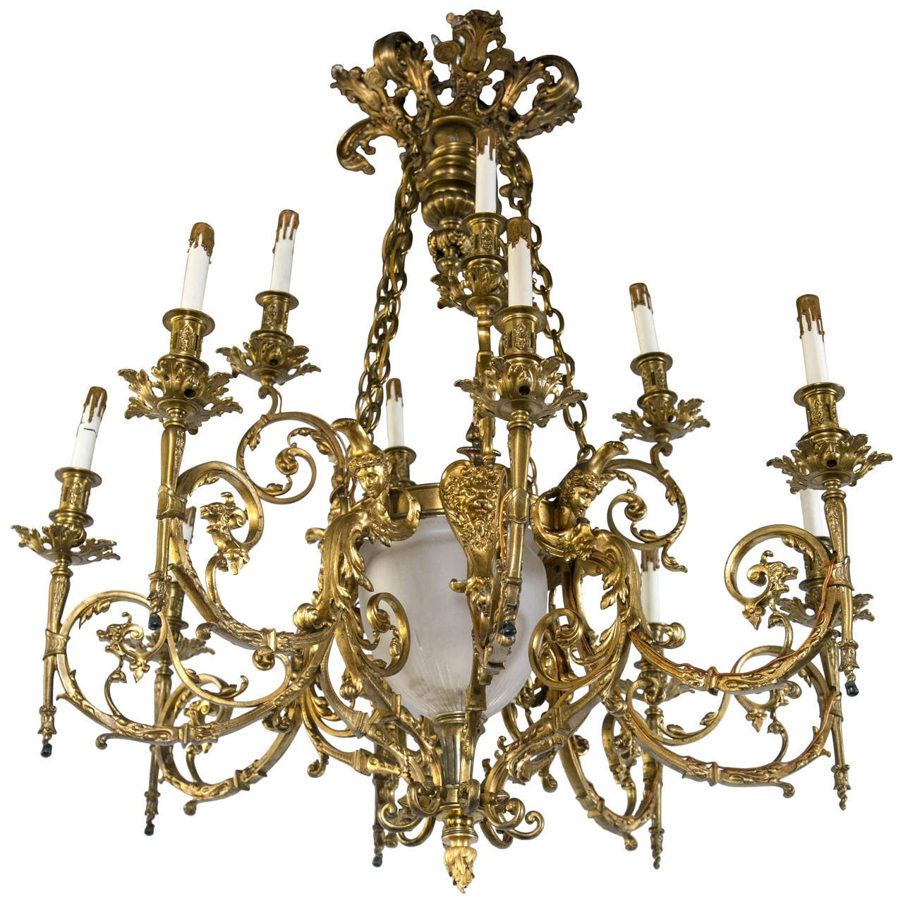 Outstanding Twelve-Light Gilt Bronze Chandelier