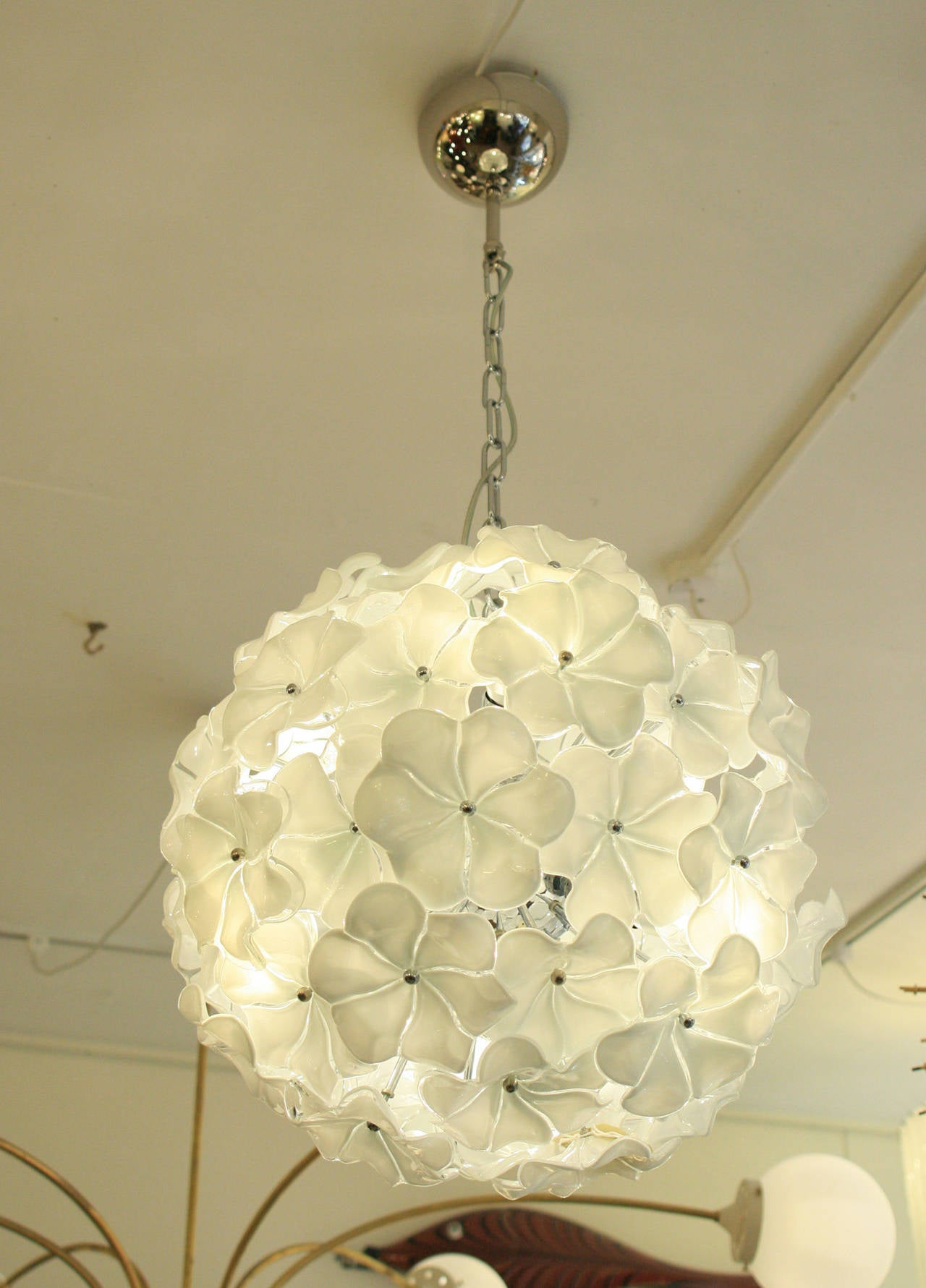 Pair Of Murano Petal Blown Glass Ceiling Lights At 1stdibs