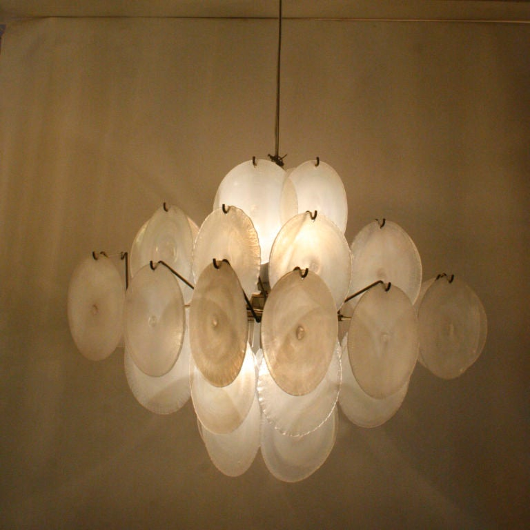 Vistosi Mother Of Pearl Iridescent Disc Ceiling Light At