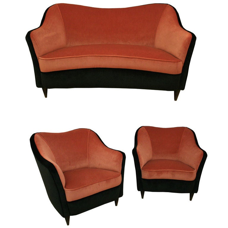 A three piece suite by gio ponti at 1stdibs for Furniture 3 piece suites