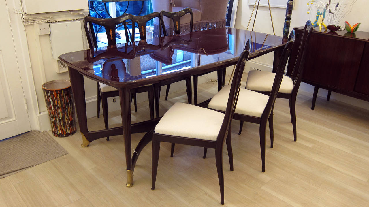 Dining table with six matching chairs at 1stdibs for Matching dining room furniture