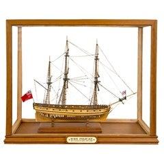 Handmade Plank on Frame Ship Model, H.M.S. Pelican