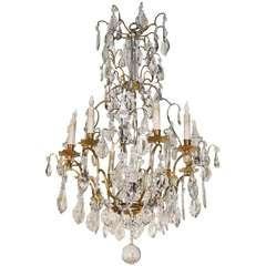 Louis XV Style Gilt Bronze And Crystal Eight Light Chandelier