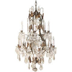 Louis XV Style Gilt Bronze And Crystal Fifteen Light Chandelier
