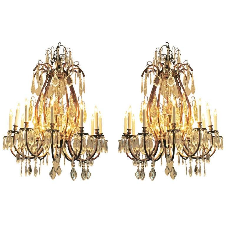 Elegant Pair of Eighteen-Light Belle Époque Crystal Chandeliers