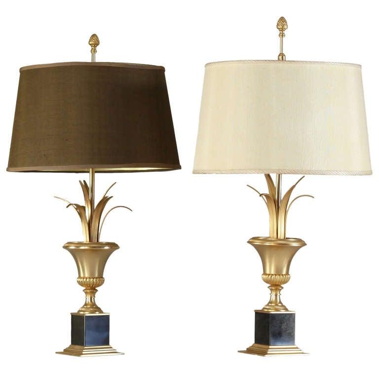 set of high end maison charles bronze palm motif lamps at 1stdibs. Black Bedroom Furniture Sets. Home Design Ideas