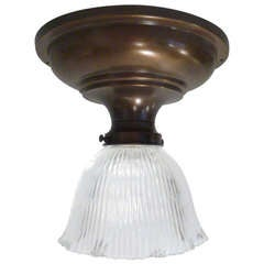 Vintage Flush Mount Light Fixture with Fluted Glass Shade