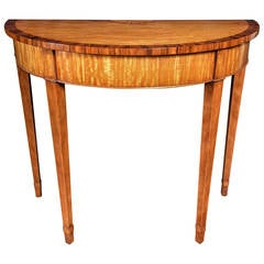 Custom English Satinwood Demilune Table