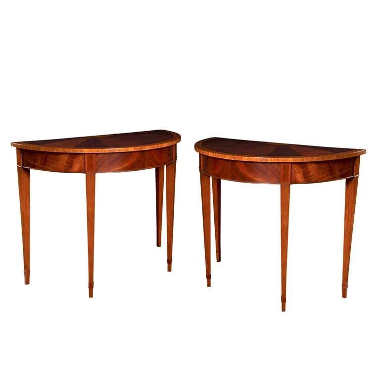 Custom English Mahogany Demilune Table