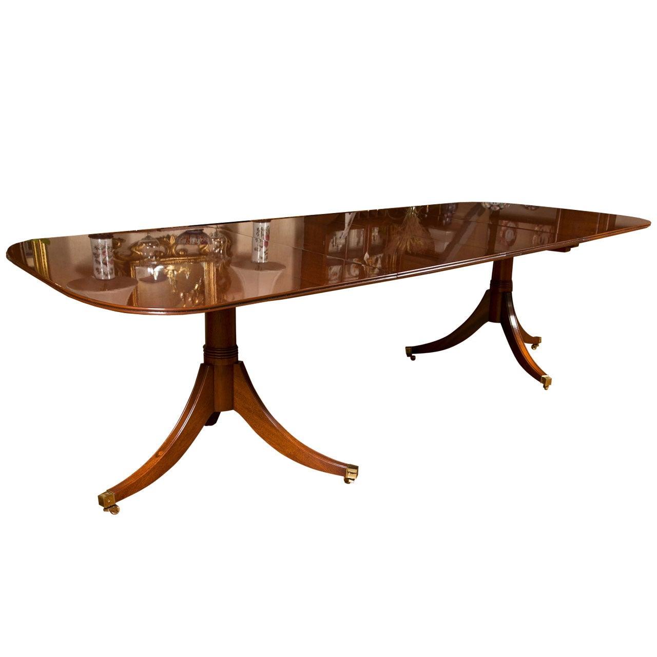 Custom Mahogany Double Pedestal Dining Table