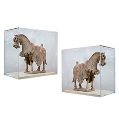 Pair of Northern Wei Pottery Horses Approx 520 A.D.