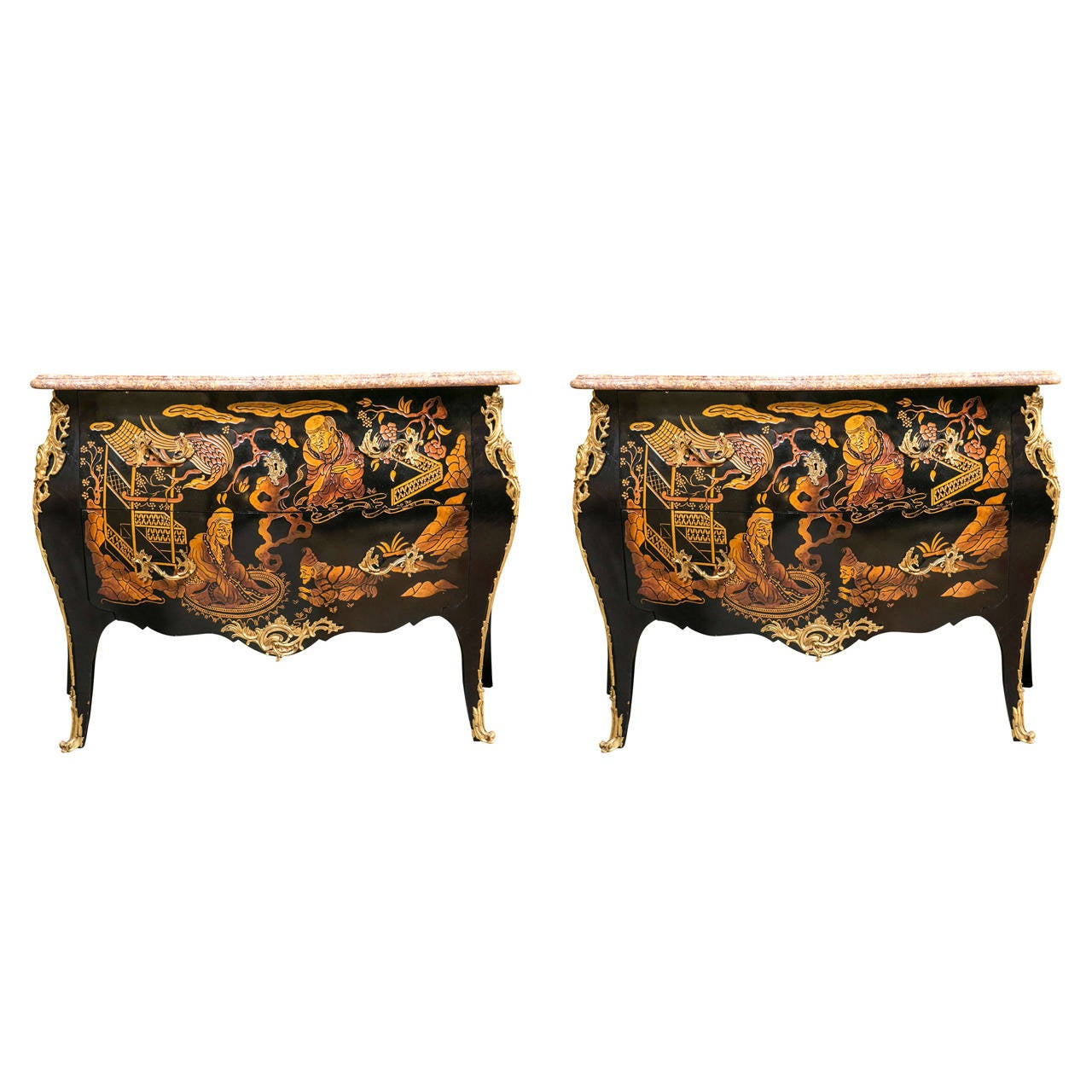 Pair of Marble-Top Chinoiserie Bronze-Mounted Commodes / Dresser Possibly Jansen